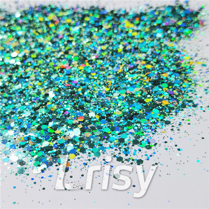 General Mixed Holographic Teal Green Glitter Hexagon Shaped LB0702