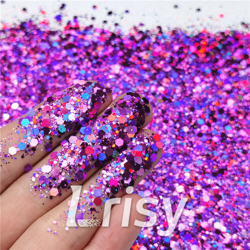 General Mixed Holographic Purple Glitter Hexagon Shaped LB0800