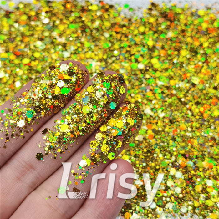 General Mixed Holographic Gold Glitter Hexagon Shaped LB0210