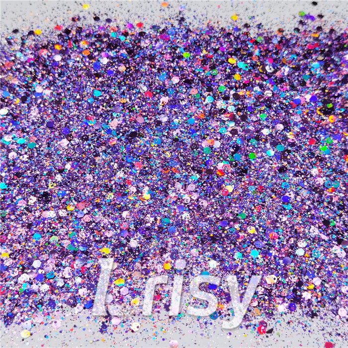 General Mixed Holographic Light Purple Glitter Hexagon Shaped LB0802