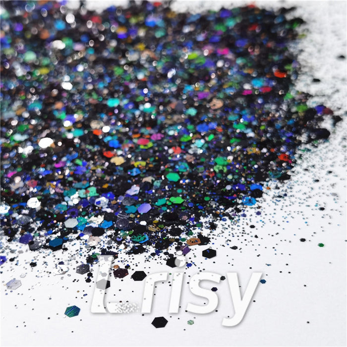 General Mixed Holographic Black Glitter Hexagon Shaped LB01000