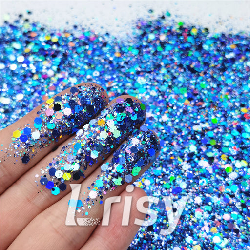 General Mixed Holographic Sea Blue Glitter Hexagon Shaped LB0709