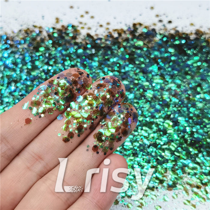 General Mixed Iridescent Translucent Green Glitter C016