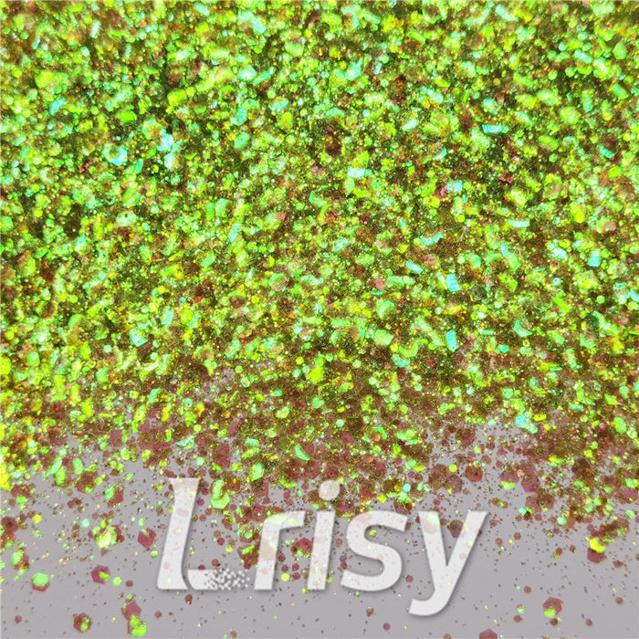 General Mixed Iridescent Translucent Green Glitter C010