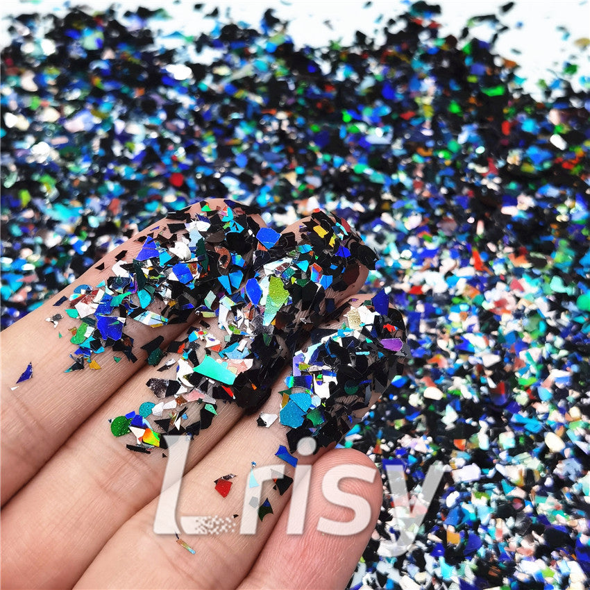 Holographic Black Cellophane Glitter Flakes Shard LB01000 4x4