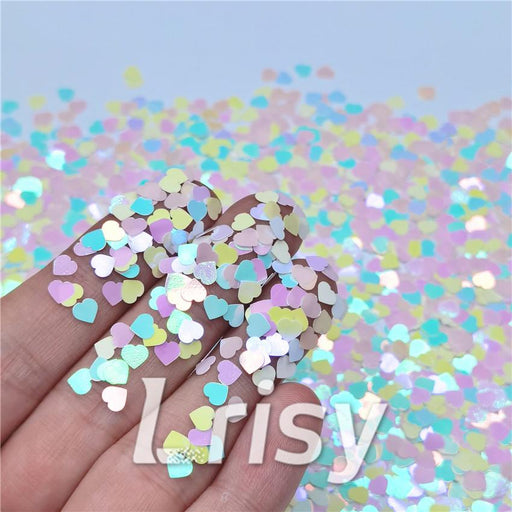 4mm Heart Shapes Rainbow Mixed Glitter C022R