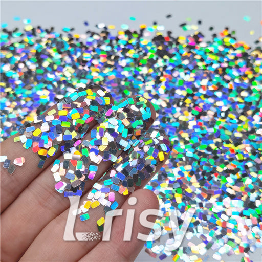 Holographic Silver Rectangle Shaped Glitter LB0100
