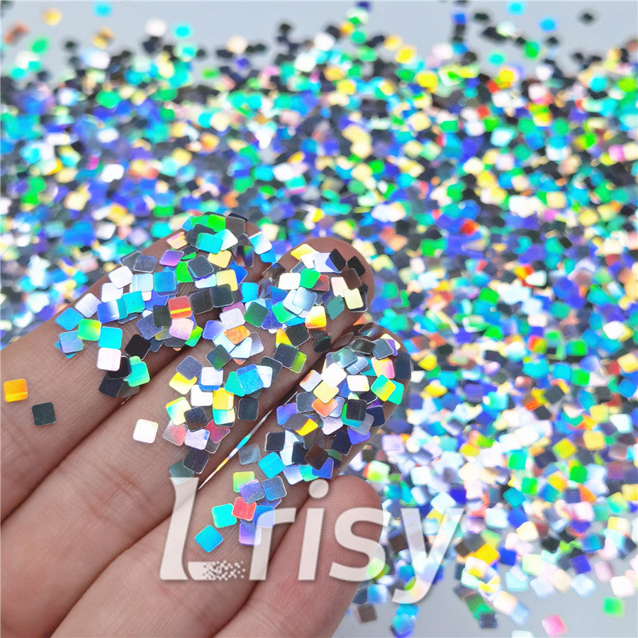 Holographic Silver Square Shaped Glitter LB0100