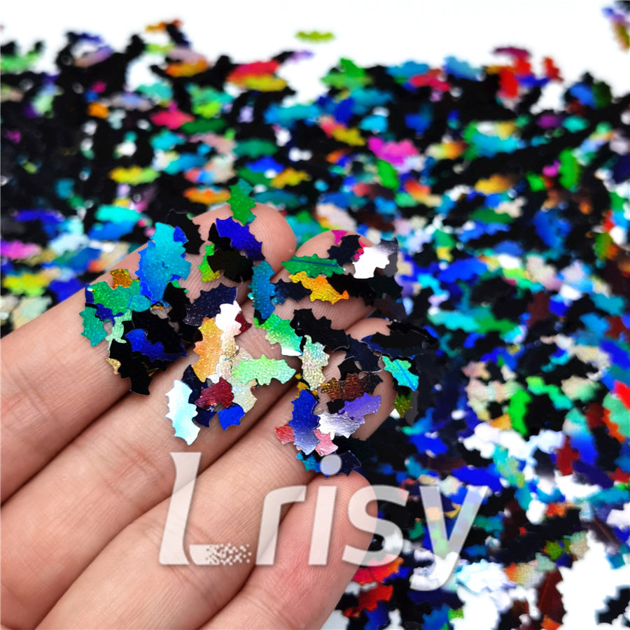 10mm Bat Shaped Holographic Black Glitter LB01000