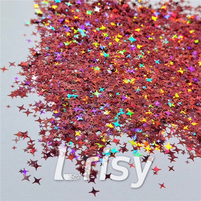 3/4/5mm Mixed Four Pointed Star Shapes Laser Hazy Pink Glitter LB0911