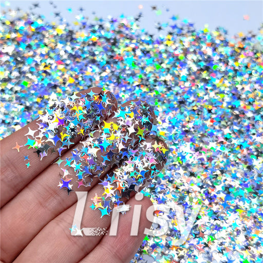 3/4/5mm Mixed Four Pointed Star Shapes Laser Silver Glitter LB0100