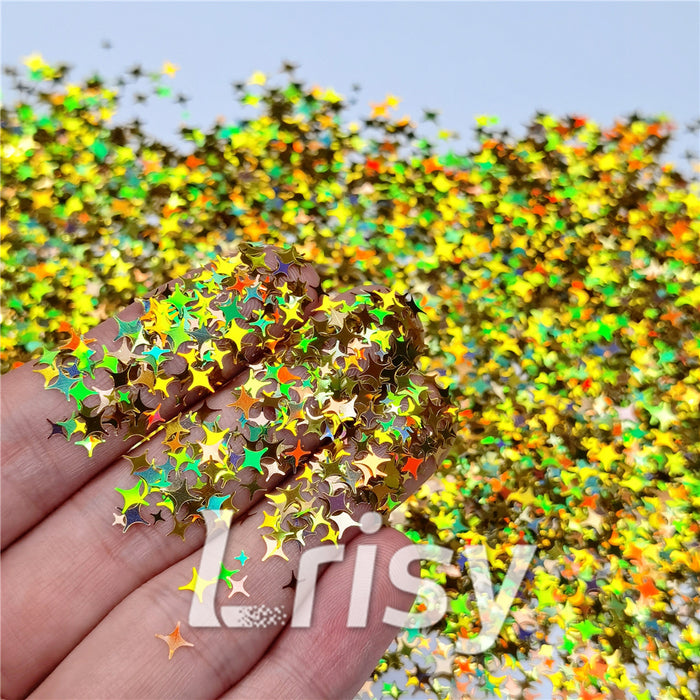 3/4/5mm Mixed Four Pointed Star Shapes Laser Gold Glitter LB0210