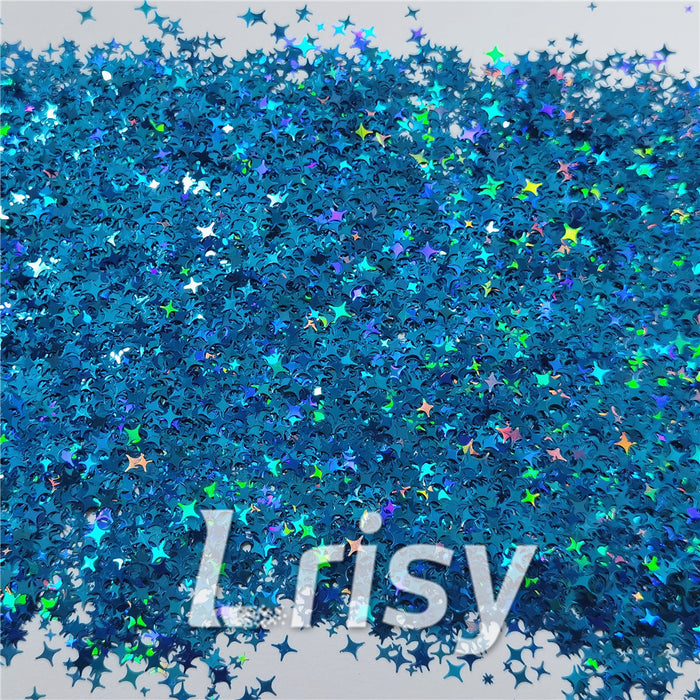 3/4/5mm Mixed Four Pointed Star Shapes Laser Sky Blue Glitter LB0700