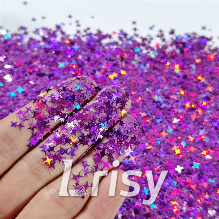 3/4/5mm Mixed Four Pointed Star Shapes Laser Purple Glitter LB0800