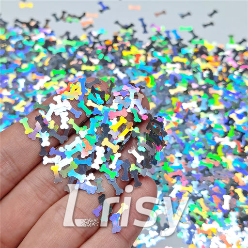6mm Holographic Silver Bone Shaped Glitter LB100