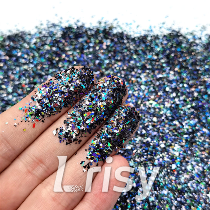 Holographic Black Opa Cellophane Shard Confetti Glitter Sprinkle Toppings LB01000