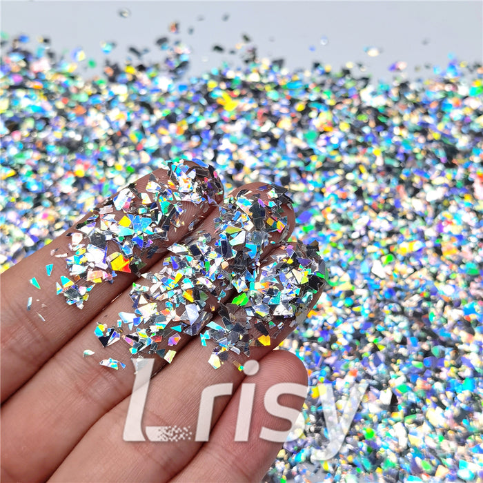 Holographic Silver Cellophane Glitter Flakes Shard LB0100 4x4