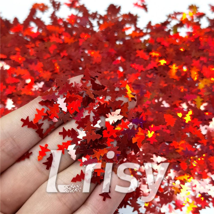Christmas Tree Shaped Holographic Red Glitter LB0300