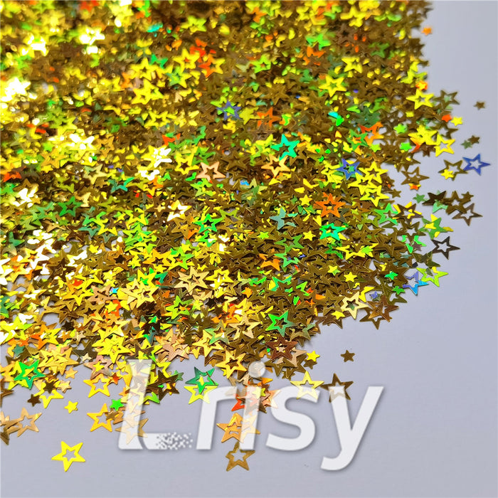 Holographic Gold Hollow Out Star Shaped Glitter LB0210
