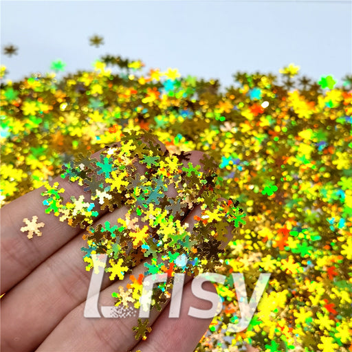 Holographic Gold Snowflake Shaped Glitter LB0210