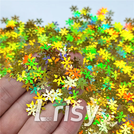 9mm Snowflake Shaped Holographic Gold Glitter LB0210