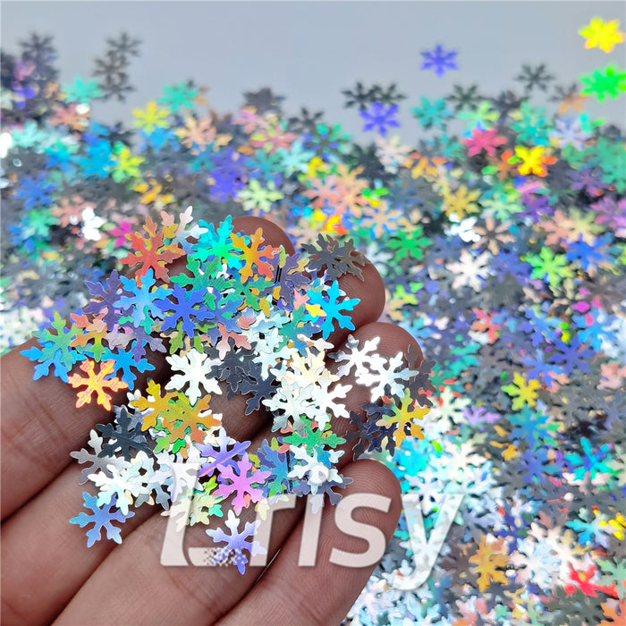 9mm Snowflake Shaped Holographic Silver Glitter LB0100