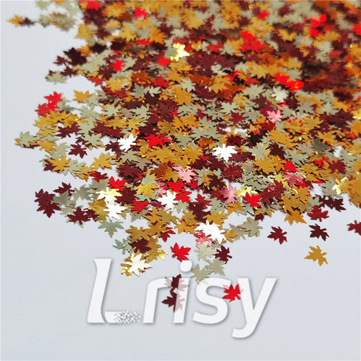 Mixed Maple Leaf Leaves Shaped Glitter FY-23