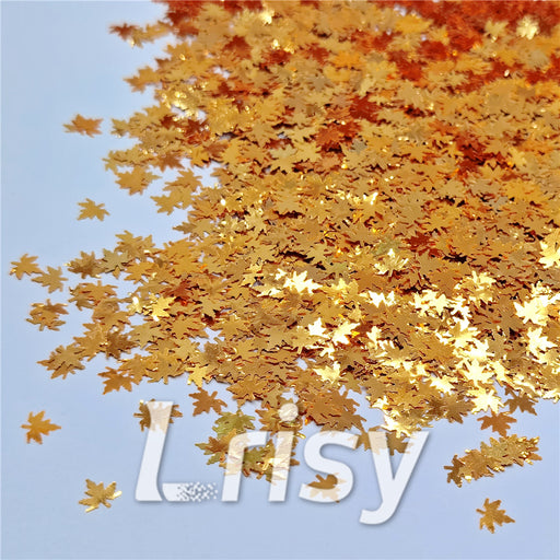 Golden Maple Leaf Leaves Shaped Glitter B0224