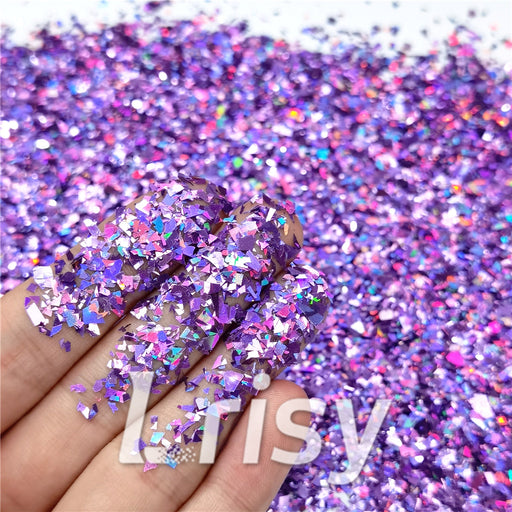 Holographic Light Purple Cellophane Glitter Flakes Shard LB0802 4x4