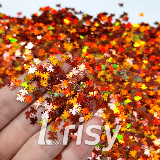 Holographic Red Bronze Maple Leaf Leaves Shaped Glitter LB0401