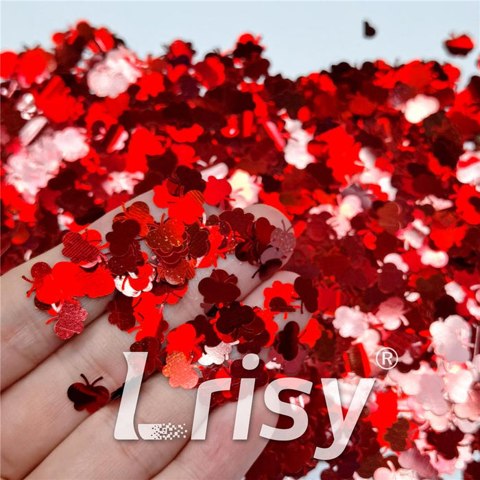 9mm Butterfly Shaped Holographic Red Glitter LB0300