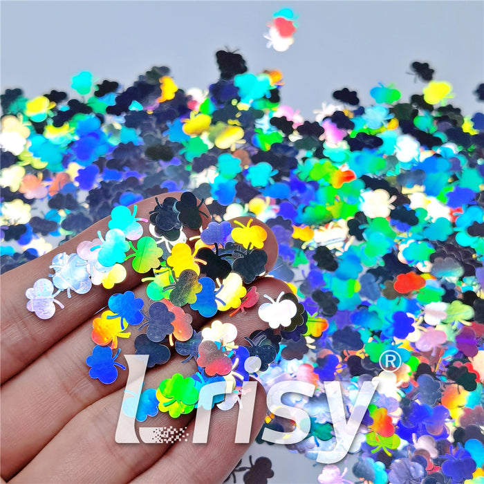 9mm Butterfly Shaped Holographic Silver Glitter LB0100