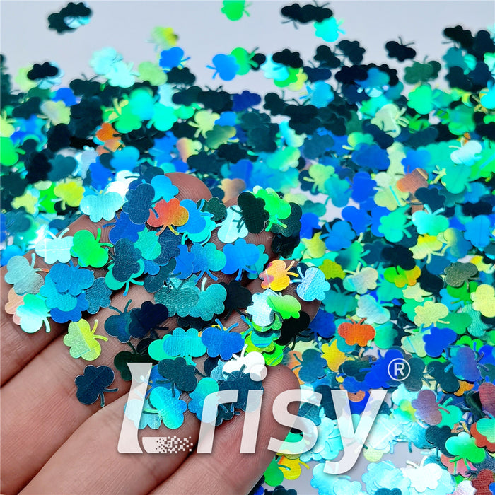 9mm Butterfly Shaped Holographic Teal Green Glitter LB0702