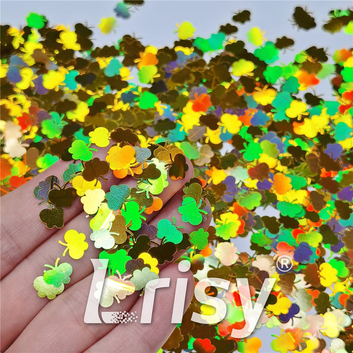 9mm Butterfly Shaped Holographic Gold Glitter LB0210
