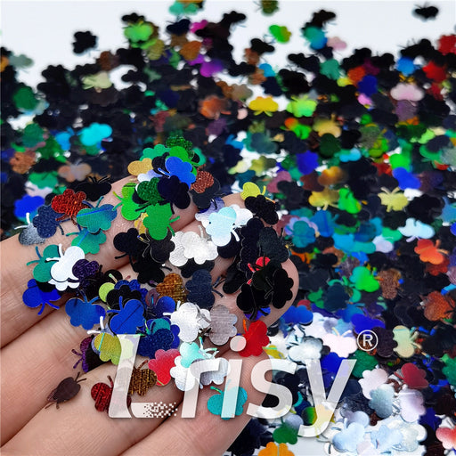 9mm Butterfly Shaped Holographic Black Glitter LB01000