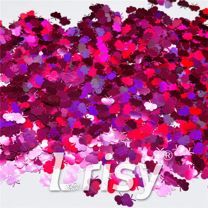 9mm Butterfly Shaped Holographic Rose Red Glitter LB0912