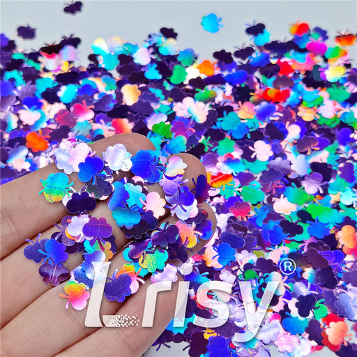 9mm Butterfly Shaped Holographic Light Purple Glitter LB0802