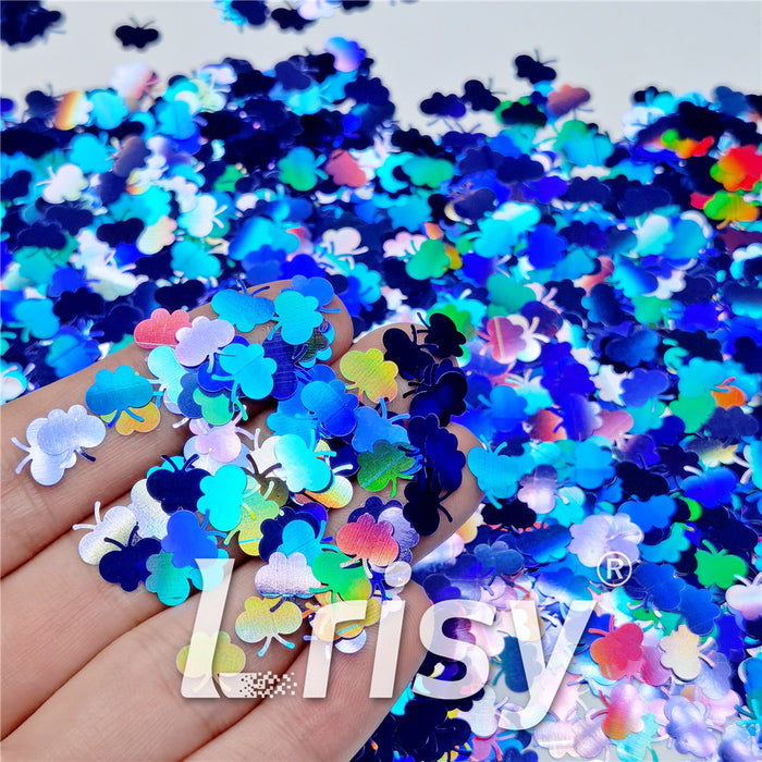 9mm Butterfly Shaped Holographic Sea Blue Glitter LB0709