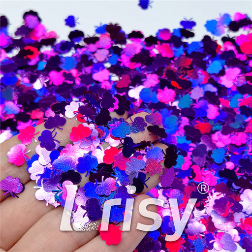9mm Butterfly Shaped Holographic Purple Glitter LB0800