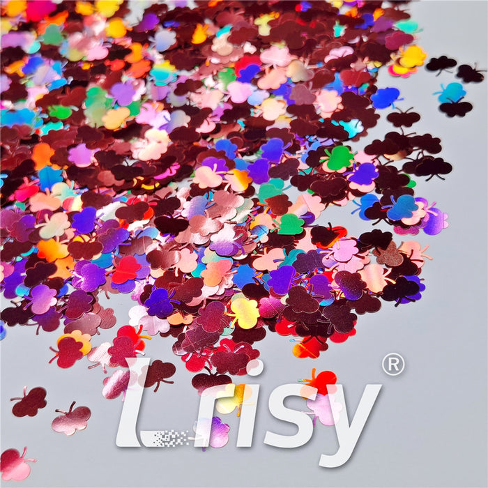 9mm Butterfly Shaped Holographic Hazy Pink Glitter LB0911