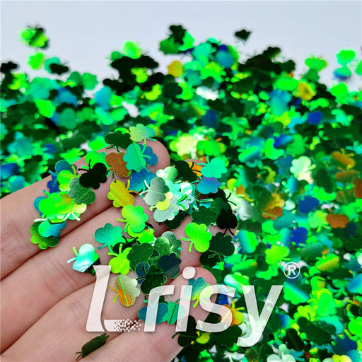 9mm Butterfly Shaped Holographic Green Glitter LB0600