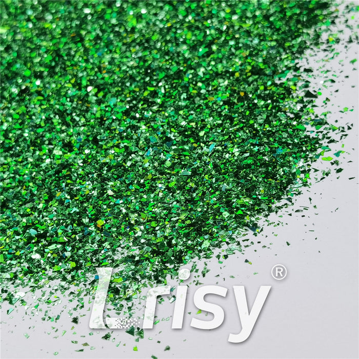 Holographic Green Cellophane Glitter Flakes Shard LB0600 2x2