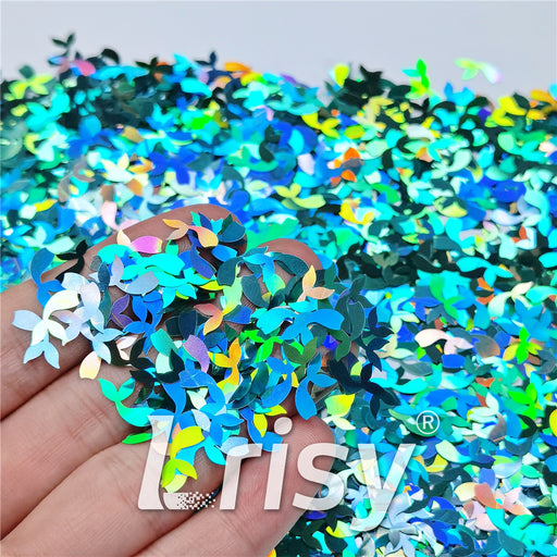 9mm Fish Tail Shaped Holographic Teal Green Glitter LB0702