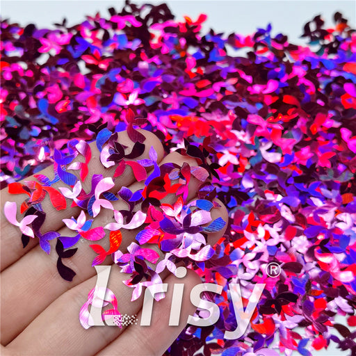 9mm Fish Tail Shaped Holographic Rose Red Glitter LB0912