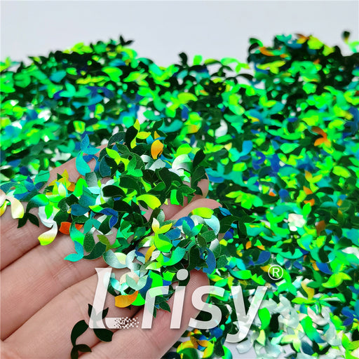 9mm Fish Tail Shaped Holographic Green Glitter LB0600