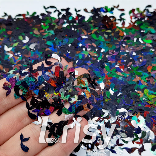 9mm Fish Tail Shaped Holographic Black Glitter LB01000