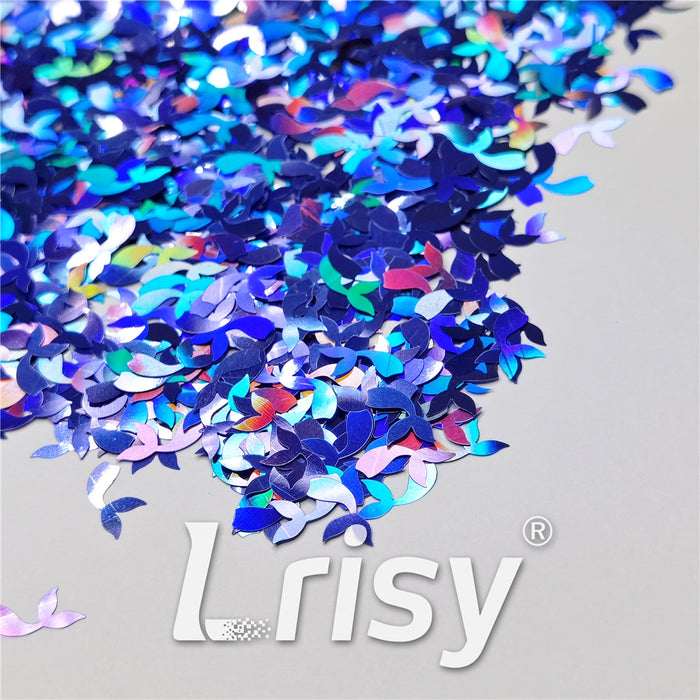 9mm Fish Tail Shaped Holographic Sea Blue Glitter LB0709