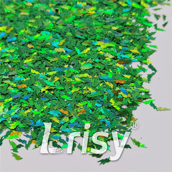 4mm Thunder Or Lightning Shaped Holographic Green Glitter LB0600