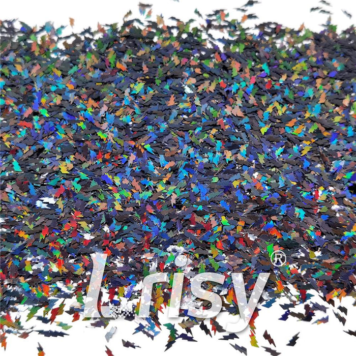 4mm Thunder Or Lightning Shaped Holographic Black Glitter LB01000