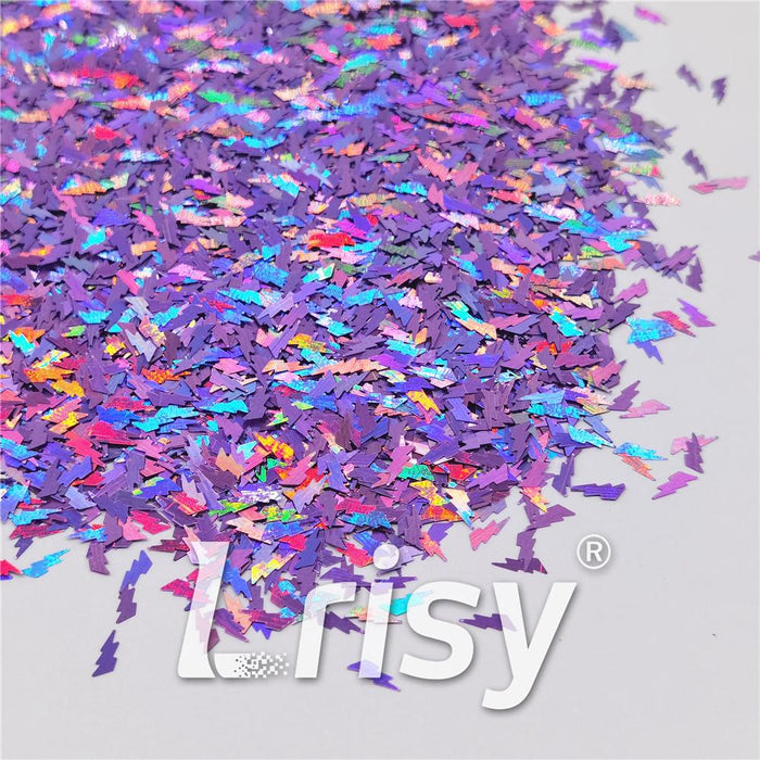 4mm Thunder Or Lightning Shaped Holographic Light Purple Glitter LB0802